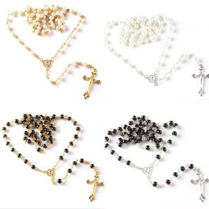 Beaded Cross Religious Chain Necklace Classic Vintage Rosary Prayer Necklaces Pendant Jewelry Accessories Party Favors Gifts Kimter-P365FA