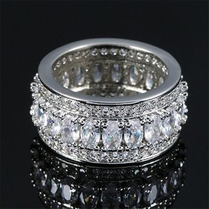 Cluster Rings Choucong Top Sell Luxury Jewelry 925 Silver Oval Cut White Topaz CZ Diamond Gemstones Promise Party Women Wedding Band Ring Gi