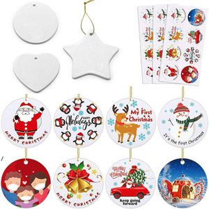 Blank White Sublimation Ceramic Pendant Creative Christmas Ornaments DIY Heat Transfer Printing Heart, Round, Star Shape DWF8379