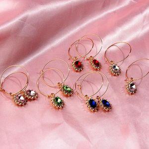 Flatfoosie Large Oval Crystal Gold Silver Color Metal Hoop Earring Shining Rhinestone Earrings for Women Girls Statement Jewelry