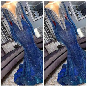 2021 Bling Top Sequined Mermaid Long Prom Dresses Slim Long Sleeves Fringes Beaded Sweep Train Formal Evening Party Wear Gowns