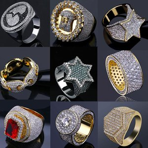 14K Gold Iced Out Rings Mens Hip Hop Jewelry Bling Cool Zirconia Stone Luxury Deisnger Men Hiphop Gifts