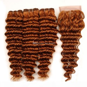 30# Light Auburn Deep Wave Bundles With Closure Virgin Brazilian Human Hair Weaves 3 Bundle Deals With Lace Closure 4x4 Free Part
