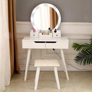 WACO Vanity Set with Bulb Lighted Round Mirror, Modern Bedroom Furniture Makeup Dressing Table Dresser Desk, 4 Drawer - White