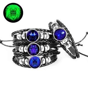 12-Constellation Signo del zodiaco Pulsera de cuero Pulseras de tejido Charm para hombres Accesorios de joyería de moda Regalos Dropshipping