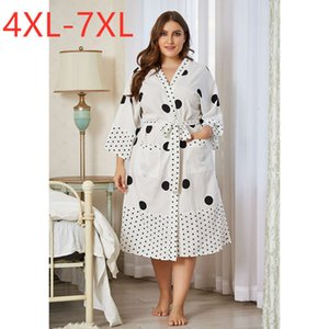 New Ladies Autumn Winter Plus Size Home Wear Pajamas for Women Large Loose Long Sleeve White Dot Belt Dress 4xl 5xl 6xl 7xl