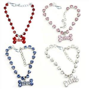 Fashion Jewelry Puppy Dog Cat Collar Design Crystal Rhinestone Bone Charm Pendant Metal Neckalce Pet Wedding Accessories