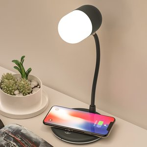 L4 Flexible 3 in 1 LED desk lamp bluetooth speaker USB charging with wireless charger table light Smart Touch Dimmer lighting phone chargers