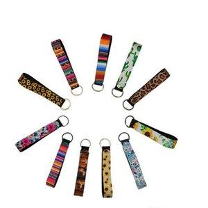 Factory Keychain Neoprene Badminton Bag Wristlet Fobs Chain Holder Colourful Printed Wrist Belt Sunflower Strap Leopard Lanyard Key Ring Ke
