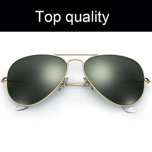 الكلاسيكية الطيران أشعة مصمم النظارات الشمسية العدسات الزجاج الطيار الرجال النساء نظارات الشمس des lunettes de soleil مع الملحقات