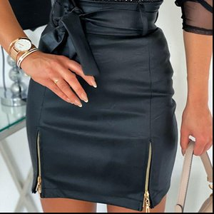 Womens Skirts Women Solid PU Leather Skirt High Waisted Pencil Zipper Bodycon Mini Vintage Office Ladies Casual Slim Fashion Clothes