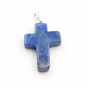 Wholesale 50pcs lot Charms High quality Cross Pendant Natural Crystal Stone Pendants for Jewelry making Earring 257 W2