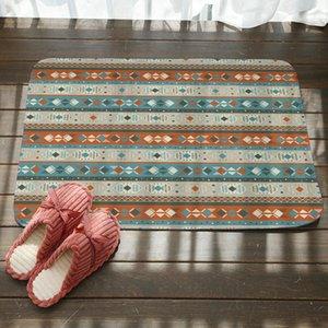 Geometrische abstrakte Streifen Badematten ethnischen Stil Fußboden Teppiche Teppiche Rutschfeste Bodenmatte Home Inn Garden Schlafzimmer Badezimmer Fußmatte