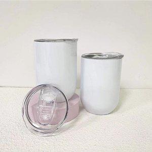 White Blank 12oz Sublimation Wine Glass Straight Egg Shape Mug Stainless Steel Tumbler Cups Insulated Vacuum Coffee Mugs