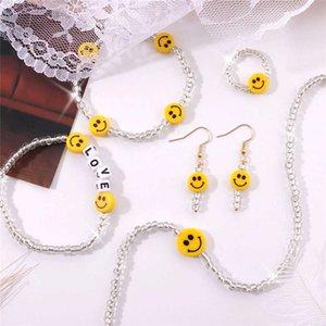 Корейский ретро нерегулярные бусины Shinny Choker ожерелье для женщин простой смайлик бисером