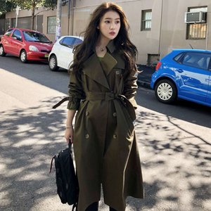 Uniform Wind Pol Lapel Tarmac Vented New Temperament Double-breasted Trench Coat Autumn Belt Long Windbreaker