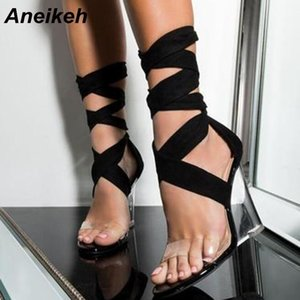 Aneikeh Fashion Sexy Women Shoes Peep Toe PVC Transparent Heel Wedges High Heels Sandals Gladiator Cross Strap Lace-Up Pumps 210402