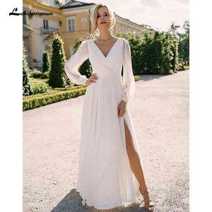 Dress Simple Bohemian Wedding 2021 Long Mouwen V-neck Floor Length Chiffon A-line Bridal Dresses Charming for Women
