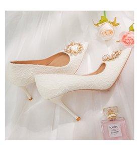 Sivri Kadın Ayakkabı Inciler Seksi Düğün 9 cm Yüksek Topuklu Gelin Stiletto Topuk BradesMaid Balo Bayan Ayakkabı