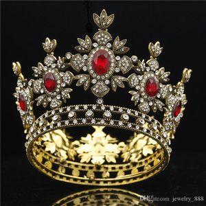 Baroque Bridal Black Dress Tiara Crown Gold Royal King Diadem Bride Wedding hair Jewelry Male Tiaras and Crowns headdress MX200727