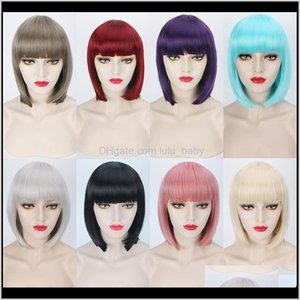 Products Drop Delivery 2021 Zf Fashion 30Cm 8 Colors S Bob Straight Bang Black Gray Synthetic Hair Cosplay Wigs For Women Csaix