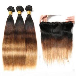 Three Tone #1B 4 27 Honey Blonde Ombre Virgin Peruvian Human Hair Bundles with 13x4 Lace Frontal Closure Silky Straight Human Hair Weaves