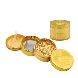 골드 그라인더 동전 패턴 아연 합금 금속 흡연 허브 4 부품 레이어 50mm 담배 담배 향신료 분쇄기 연기