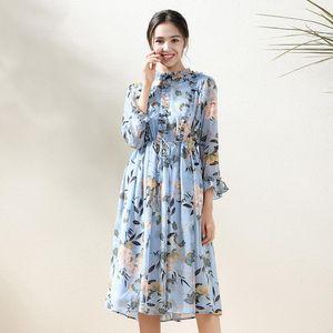 Summer Chiffon Dress Women Edible Tree Slim Midi Maxi Blue Floral Printed Elegant Fashion Evening Woman Dresses Vestidos Casual