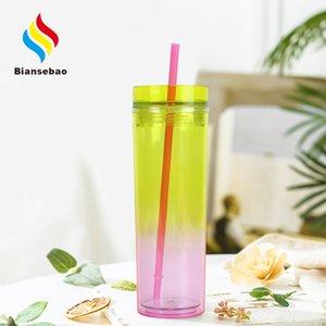 Double Transparent Plastic Tumbler Internet Celebrity Gradient Color Straw Plastic Cup Handy Double Layer Tumbler Factory Bottle