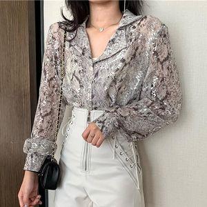 Korean Fashion Long Sleeve Button Shirt For Women Spring Autumn Snake Print Sequin Blouse Glitter Ladies Tops XZ604 Women's Blouses & Shirts