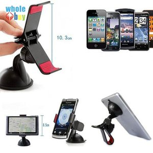 100pcs lot Retail Packaging + Universal Car Phone Holder Windshield Dashboard Mount Stand Smart Mobile Phone GPS MP4 Rotating 360 Degree