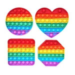 Wholesale Great Stock Pop Toy Toy Rainbow Square Push Poo Его пузырь Poppers Простые Dimple Игрушки Стресс