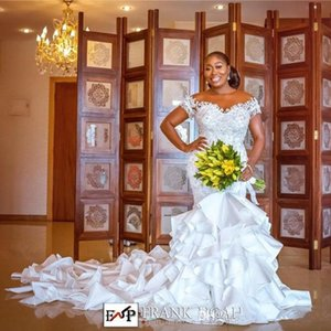 2020 Lace Appliqued Mermaid Wedding Dress Sexy African Black Girl Sheer O-neck Plus Size ruffles tiered skirt Bridal Gown