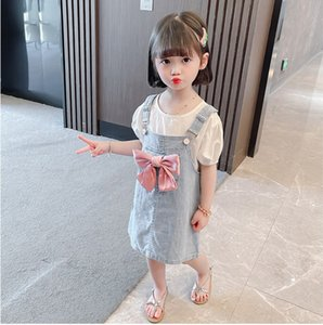 cute Girls denim clothing sets 2021 Kids Summer outfits children white puff sleeve T-shirts+Bow Soft Cowboy Suspender Dress 2pcs suits V563