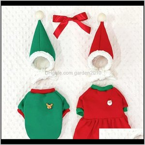 Apparel Christmas Dog Dress Suit With Hat Pet Couple Outfit Winter Clothes For Dogs Small Medium Chihuahua Bichon Puppy 201102 Meoy1 Wq64M
