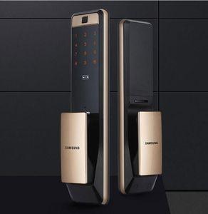 2PCS SAMSUNG SHP-DP609Keyless Lock Fingerprint PUSH PULL Two Way Digital Door English Version Big Mortise Gold Color +Retail Box