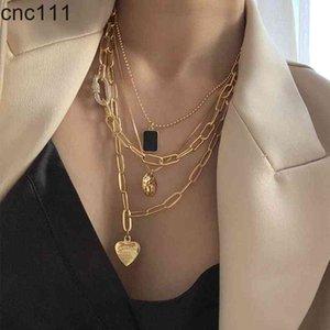 Peri'sBox 4Pcs set Paper Clip Chain Love Heart Black Square Portrait for Women Minimalist Layered Necklaces