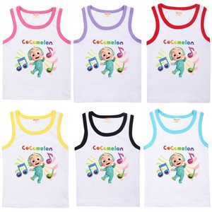 Summer Cute Cocomelon Cartoon Printed Children's Vest Fashion Jj Boys Sleeveless Casual Sports Candy Colors Kids Sports Girls Clothes 8652 G76X4QS