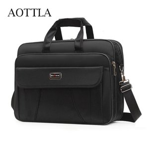 Briefcases AOTTLA Men's Business Bag Large Capacity Briefcase Classic Solid Color Man 2021 Casual Handbag Documents For Male