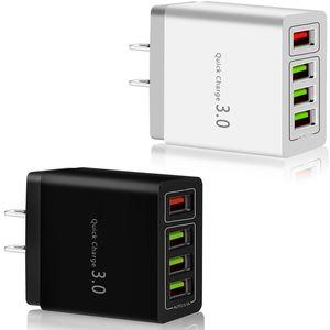 Быстрая быстрая зарядка 4 USB-порты QC3.0 Настенное зарядное устройство 30 Вт ЕС US AC Home Travel Adapter для iPhone Samsung LG Android Phone PC
