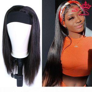 Human Straight Full with Bangs Free Headband Scarf Glueless Wig Brazilian Wigs Queen Hair