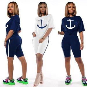 Women's Two Piece Sets Summer pants set Tops + Shorts tshirt Short Sleeve Crew Neck print casual 2 pic Suit Plus Size S M L XL 2XL
