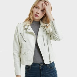 Spring Autumn PU Leather Jacket Women Short Turn-down Collar Button Motorcycle Bike Woman Coat Chaqueta Mujer S-XXL Women's & Faux