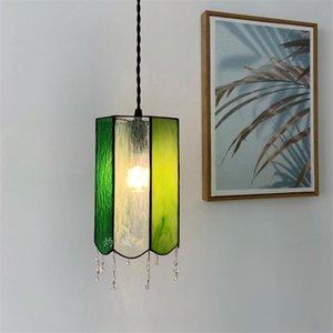 Pendant Lamps Japanese Retro Handmade Color Glass Lights Bedroom Bedside Dining Room Bar Corridor Hanging Deco Lighting