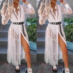 Women Summer Boho Short Maxi Dress Evening Party Dresses Female Sexy See-Through Wave point Long Sleeve Sundress