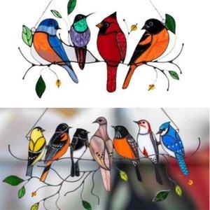 4 7 الطيور على سلك عالية ملطخة suncatcher 2021 عيد الأم جدار الباب نافذة لوحة الطيور سلسلة الديكور زخرفة شنقا هدايا حزب هدية H41SGXN
