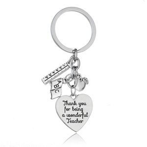 36PC Teachers Key Chains Apple Ruler ABC Book Love Heart Charms Keyrings Thank You For Being A Wonderful Teacher Keychains Gifts 210410