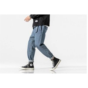 Mens Jeans Pencil Pants Ankle Banded Pants Old School Striped Japan Style Jeans Casual Clothes Styles