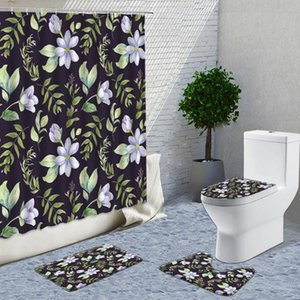 Shower Curtains Plant Flowers Curtain Set Fabric Modern Hand Painted Decor Things For Home Bathroom With Stitch Rugs And 4PCS