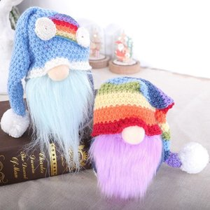 Rainbow Faceless Doll Gnome Christmas Knitted Hat Plush Dolls Gift Decorations Party Supplies Household Desk Decor LLE9971
